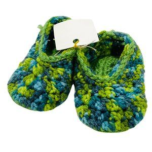 NWT! Handknit Green & Blue Infant Slippers